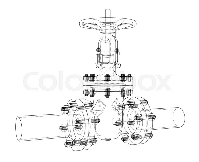 800x649 Industrial Valve. Vector Illustration Isolated On White Background