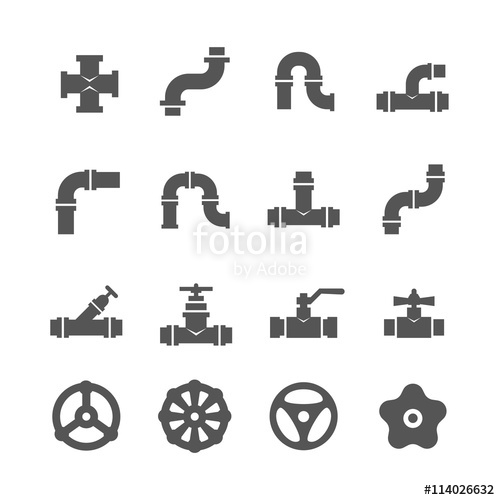 500x500 Valve, Taps, Pipe Connectors, Pipe Details Vector Icons Set. Set