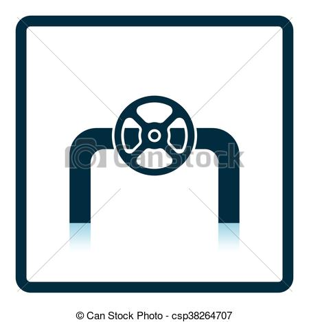 450x470 Icon Of Pipe With Valve. Shadow Reflection Design. Vector