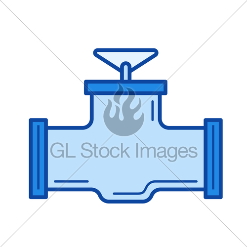 500x500 Industrial Valve Line Icon. Gl Stock Images