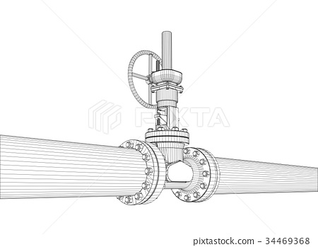 450x349 Industrial Valve. Vector Rendering Of 3d