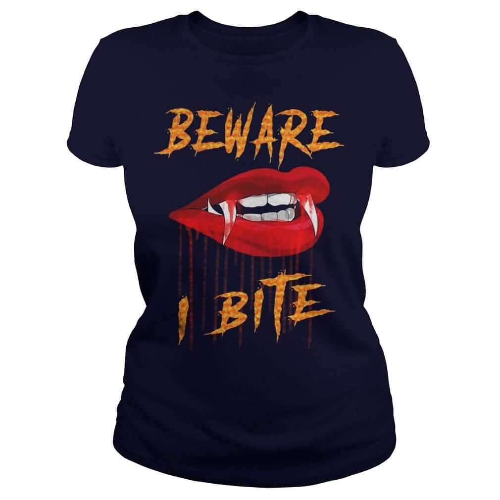 1010x1010 Hallowen T Shirt Beware I Bite With Vampire Fangs Vector Drawing