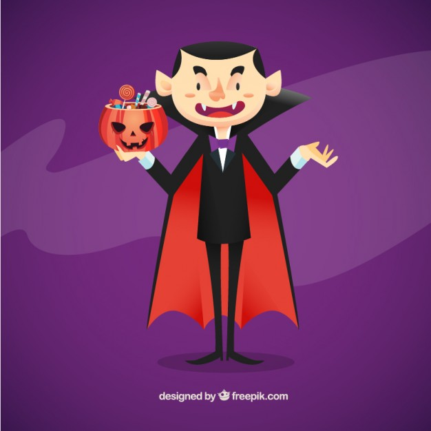 626x626 Vampire Illustration With Candies Vector Free Download