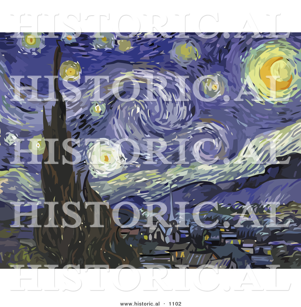 1024x1044 Historical Vector Illustration Of The Starry Night