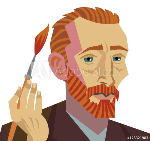 500x469 Van Gogh Cartoon Painter Face Drawing With Paintbrush