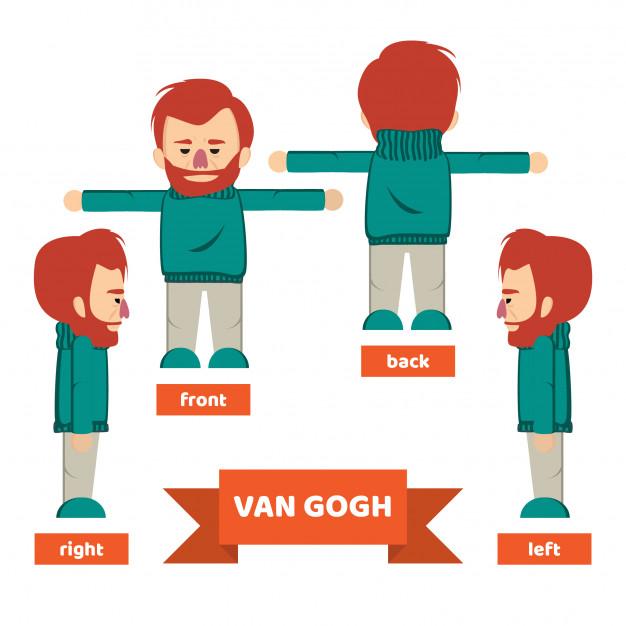 626x626 Character Van Gogh Red Hair Man Vector Premium Download