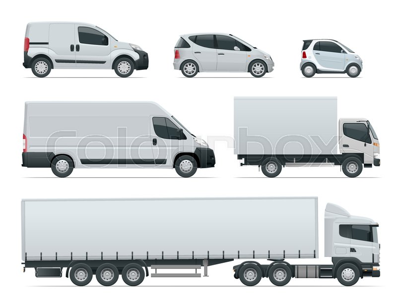 800x600 Set Of Cargo Trucks Side View. Delivery Vehicles Isolated. Cargo