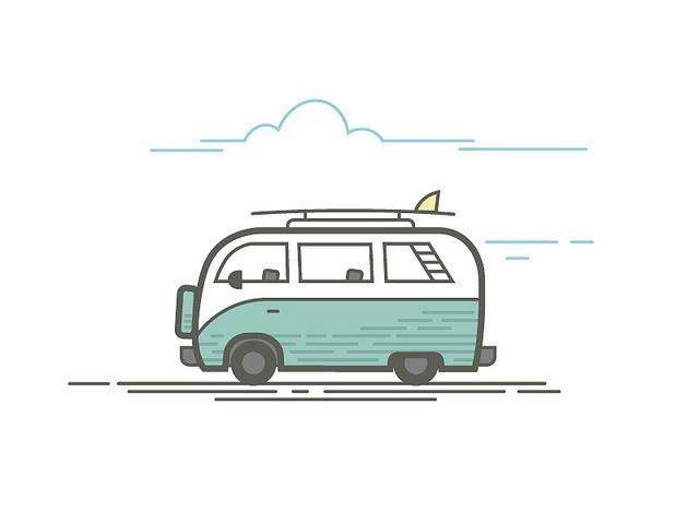 640x480 Surfer Van Van Vector