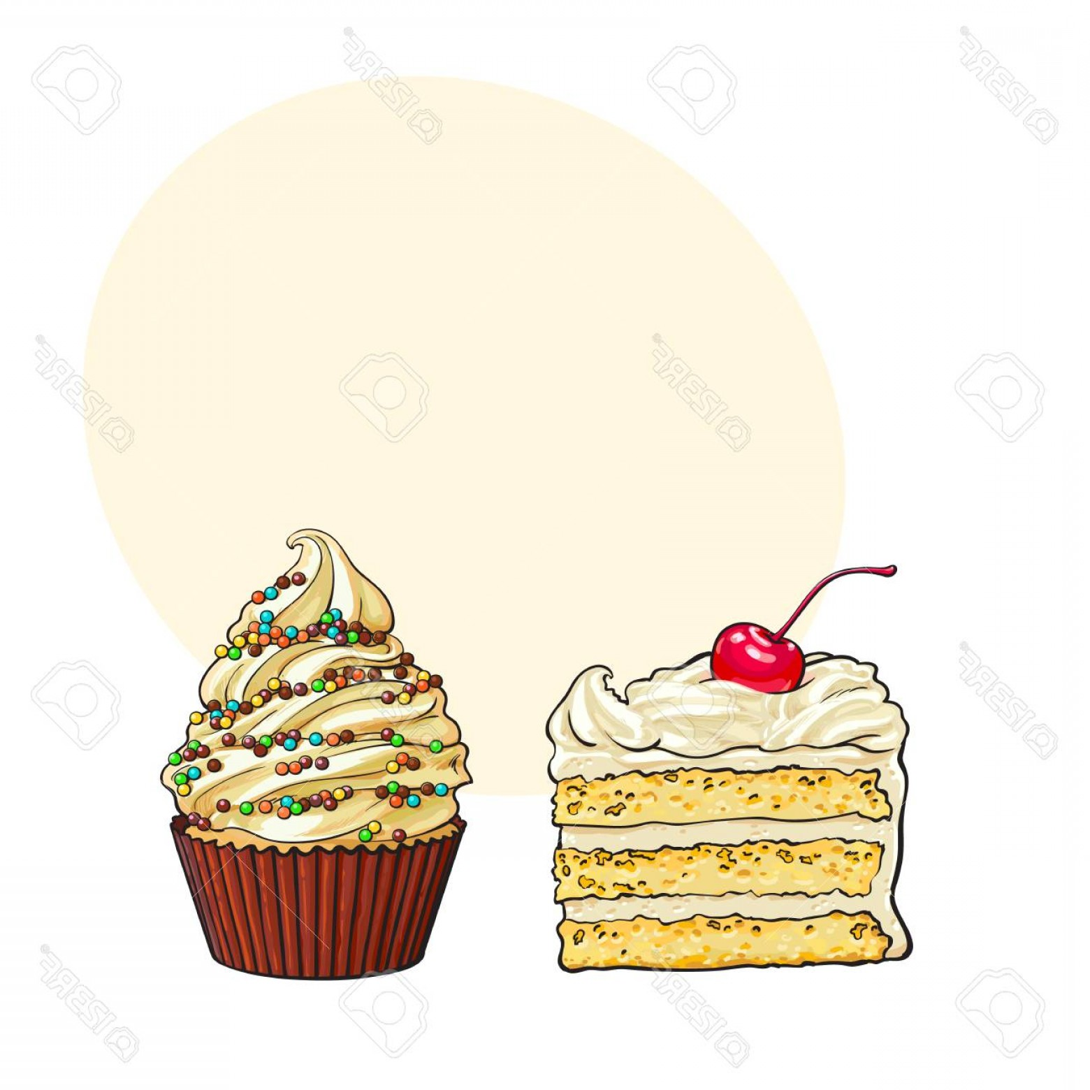 1560x1560 Photostock Vector Hand Drawn Desserts Cupcake And Piece Of Layered