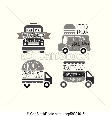450x470 Vector Set Of Original Logo Templates For Food Truck Festival