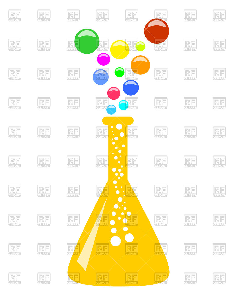 961x1200 Abstract Conical Chemical Flask With Multicolor Vapor Vector Image