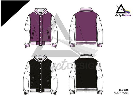 570x440 Jacket Varsity Template Vector Mockup Jacket Mockup Vector Etsy
