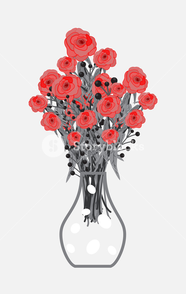 634x1000 Red Roses Bouquet In Flower Vase Vector Illustration Royalty Free