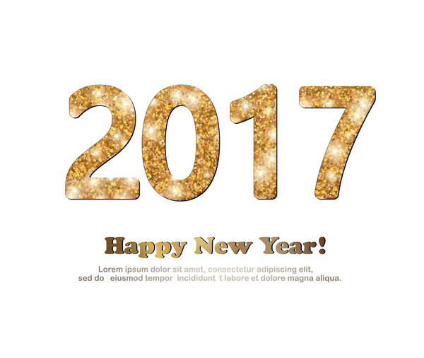 600x506 2017 New Year Golden Glitter Text With White Background Vector 02