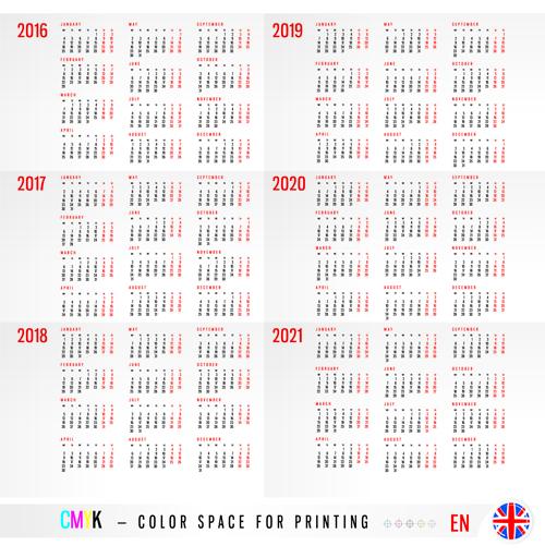 Vector 2018 Calendar
