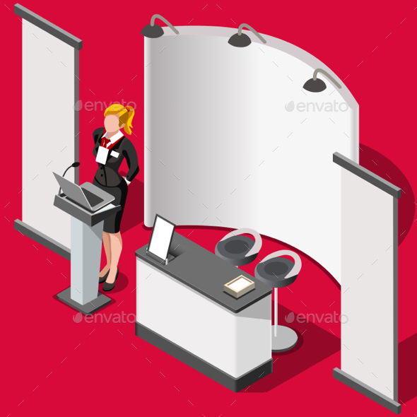 590x590 Exhibition Booth Stand 3d People Isometric Vector Illustration By