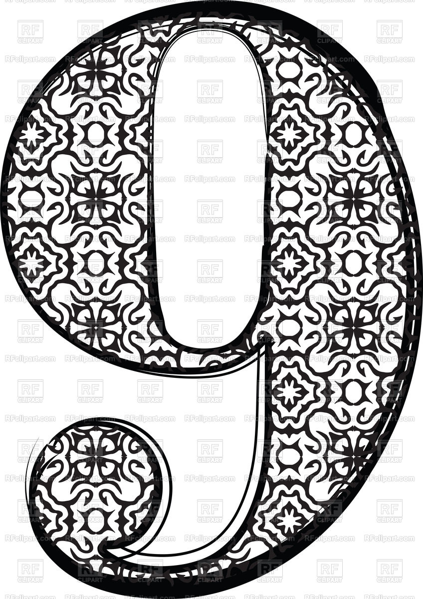 848x1200 Fashion Font Number 9 Vector Image Vector Artwork Of Fonts