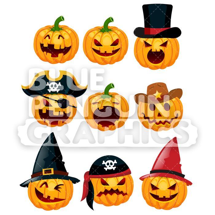 700x700 Halloween 9 Scary Pumpkin Set Vector Cartoon Clipart Illustration