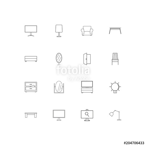 500x500 Furniture And Home Accents Linear Thin Icons Set. Outlined Simple