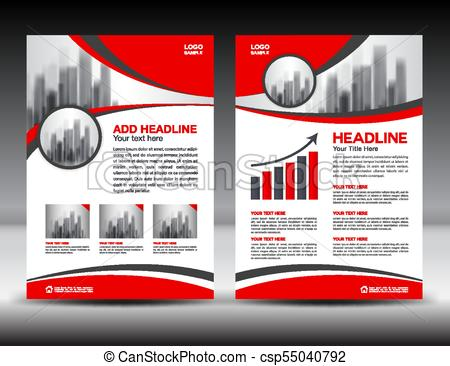 450x366 Business Brochure Flyer Template Vector Illustration, Red Cover