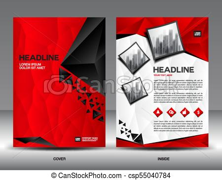 450x366 Business Brochure Flyer Template Vector Illustration,red Cover