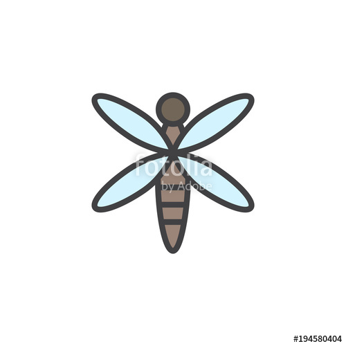500x500 Dragonfly Filled Outline Icon, Line Vector Sign, Linear Colorful