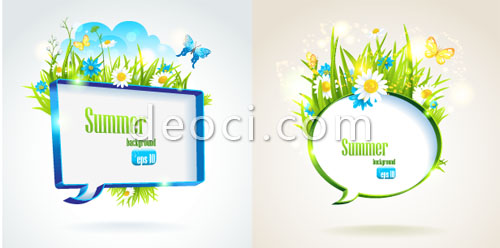 500x248 2 Vector Cool Summer Dialog Background Material Butterflies