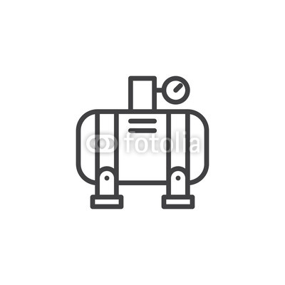 400x400 Air Compressor Line Icon, Outline Vector Sign, Linear Style