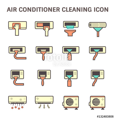 483x500 Air Conditioner Air Compressor And Air Filter Cleaning Vector Icon