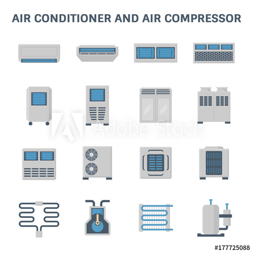 500x500 Vector Icon Of Air Conditioner And Air Compressor Part Of Hvac