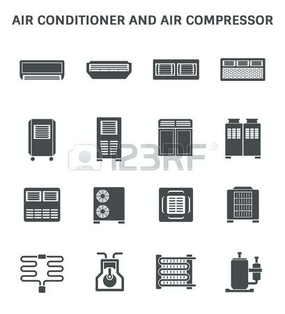 409x450 Air Compressor System Design Vector Icon Of Air Conditioner And