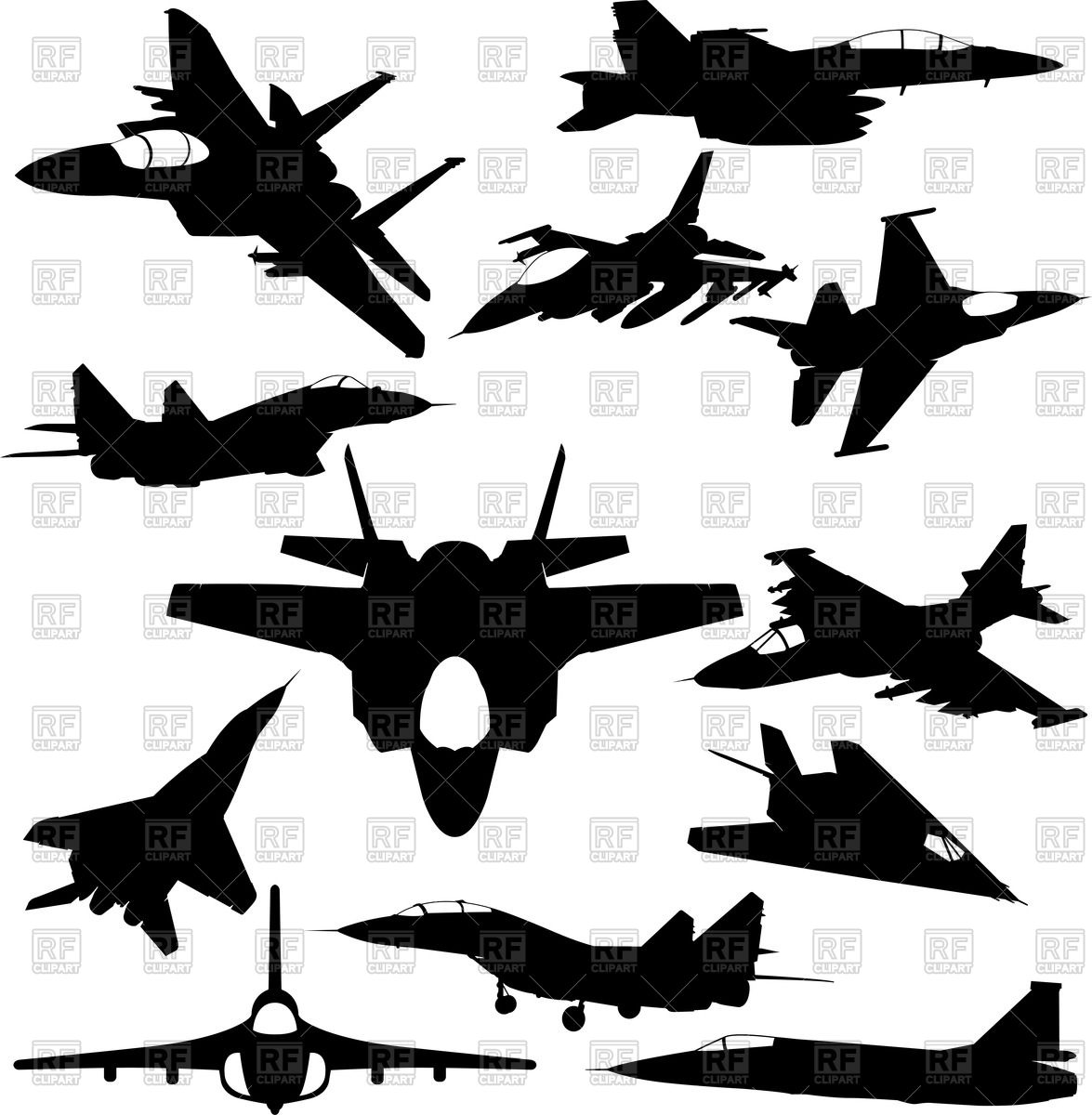 1175x1200 Military Jet Fighter Silhouettes Vector Image Vector Artwork Of