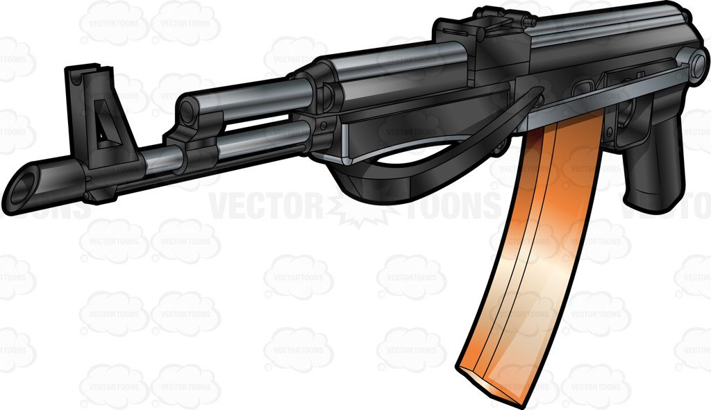 1024x591 The Popular Ak 47 Rifle With Long Magazine Clipart By Vector Toons