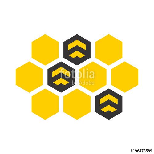 500x500 Logotipo Bee En Panal Con Abejas En Gris Y Amarillo Stock Image