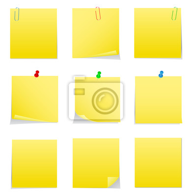 391x400 Vector Amarillo Post It Notes Con Chinchetas Y Clips Pinturas Para