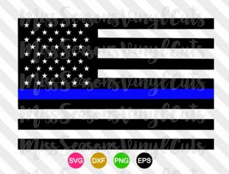 735x559 Thin Blue Line American Flag Svgvector File Amp Dxf Police Black