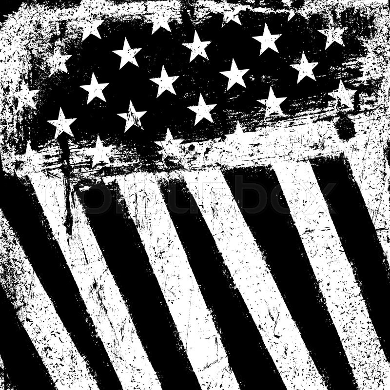 American flag grunge. Vector black and white