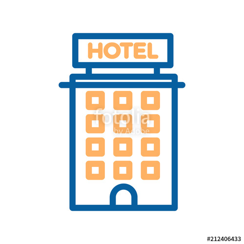 500x500 Hotel Thin Line Icon. Building, Real Estate, Motel, Tourism