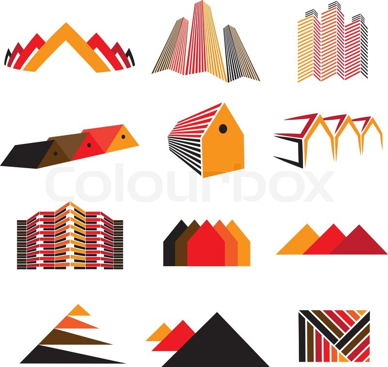 800x757 Icons Of Office Buildings, Residential Houses Amp Homes Also Symbols