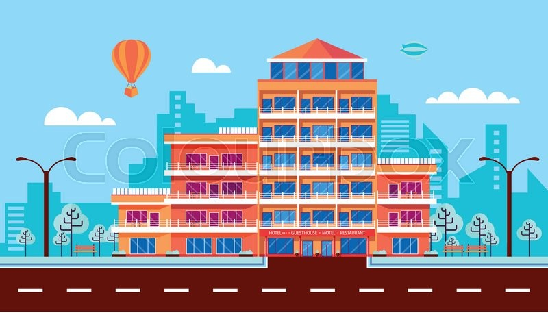 800x457 Stock Vector Illustration City Street With Hotel, Apartments