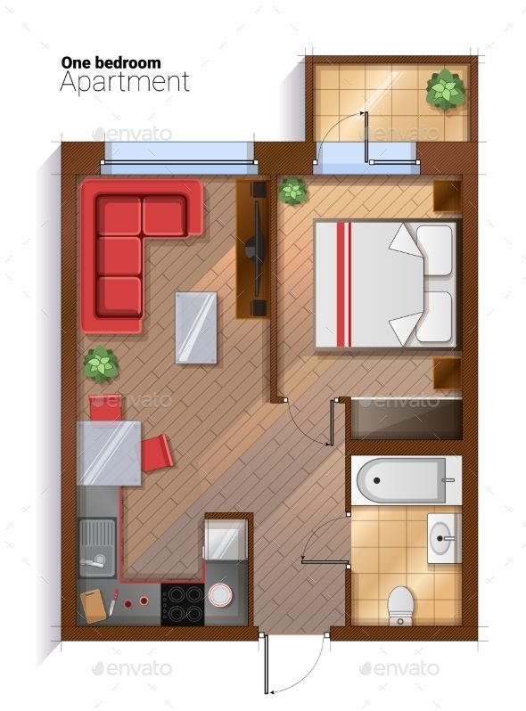 590x798 Vector Modern One Bedroom Apartment Top View Fonts Logos Icons