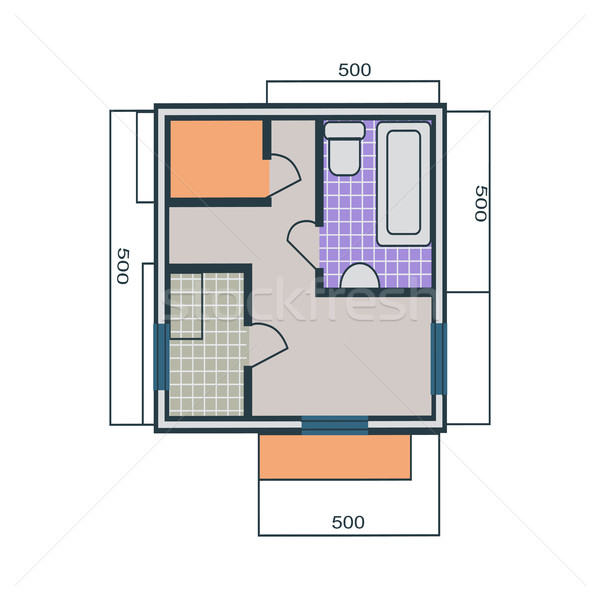 600x600 Apartments Plan Vector Illustration In Flat Style. Vector