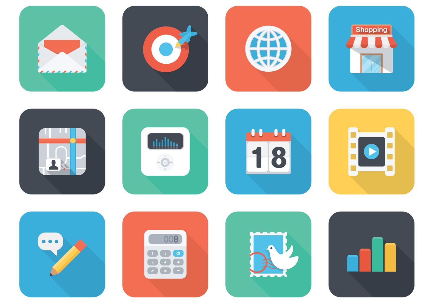 1400x980 Flat App Vector Icons For Mobile And Web