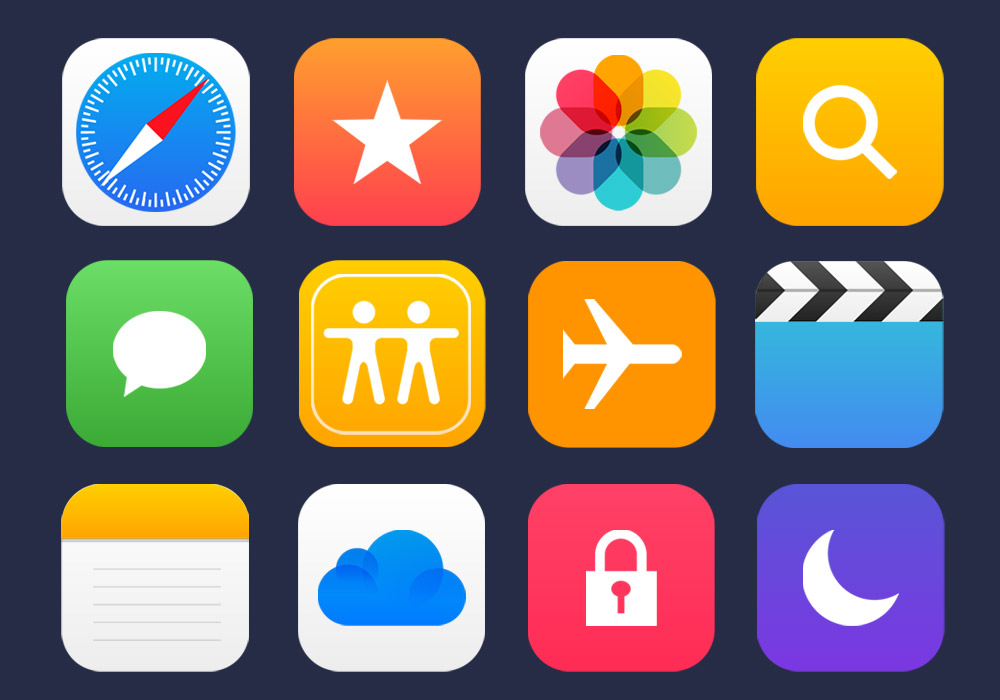 1000x700 36 Apple Apps Vector Icons