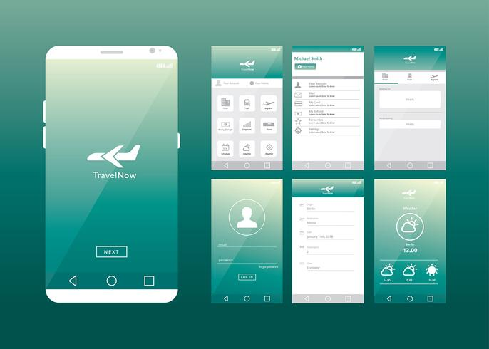 686x490 Mobile App Gui Online Travel Agent Vector