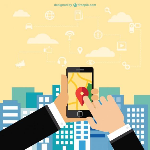 626x626 Mobile Phone Navigation App Vector Free Download