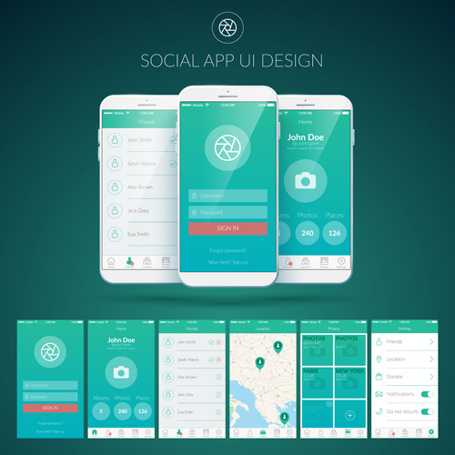 500x500 Mobile Social App Interface Design Vector Free Vector In