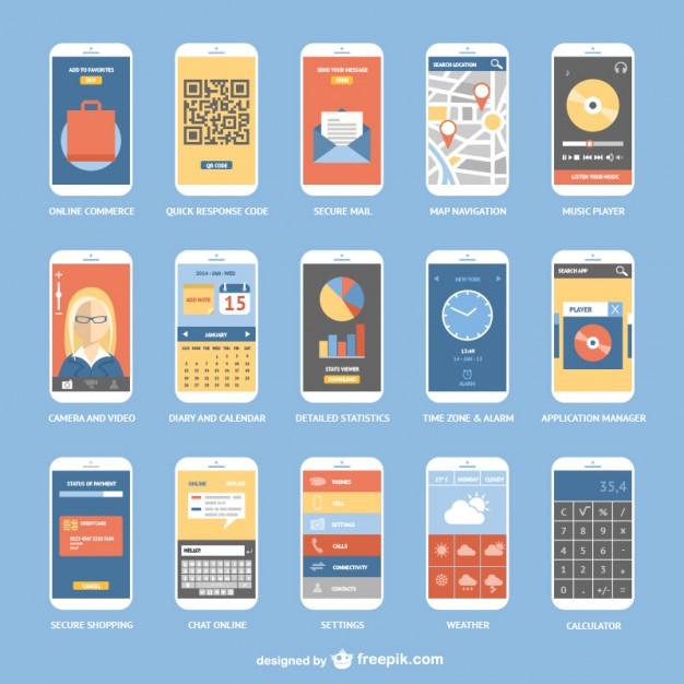 626x626 Smartphone Apps Collection Vector Free Download