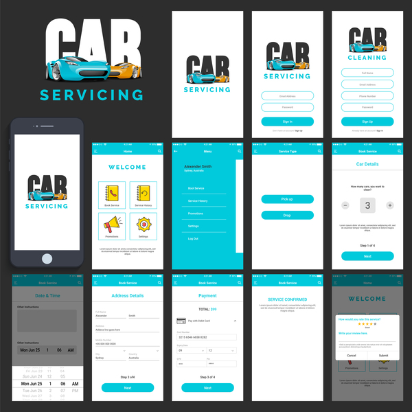 600x600 Car Servicing App Ui Design Vector Free Download