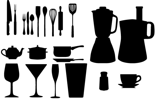 600x380 Free Vectors Free Vector Kitchen Appliances Silhouettes
